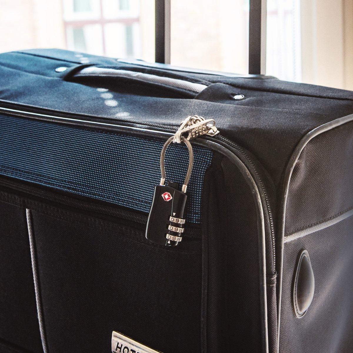 Serrure de s/écurit/é avec Combinaison 3 Chiffres pour Bagage Sac de Voyage Lot 2 Cadenas de Valise homologu/é TSA kwmobile Cadenas /à Code Argent/é