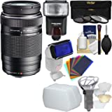 Olympus M.Zuiko 75-300mm f/4.8-6.7 II MSC ED Digital Zoom Lens (Black) with 3 Filters + Flash + Diffusers + Kit for Micro Four-Third Cameras