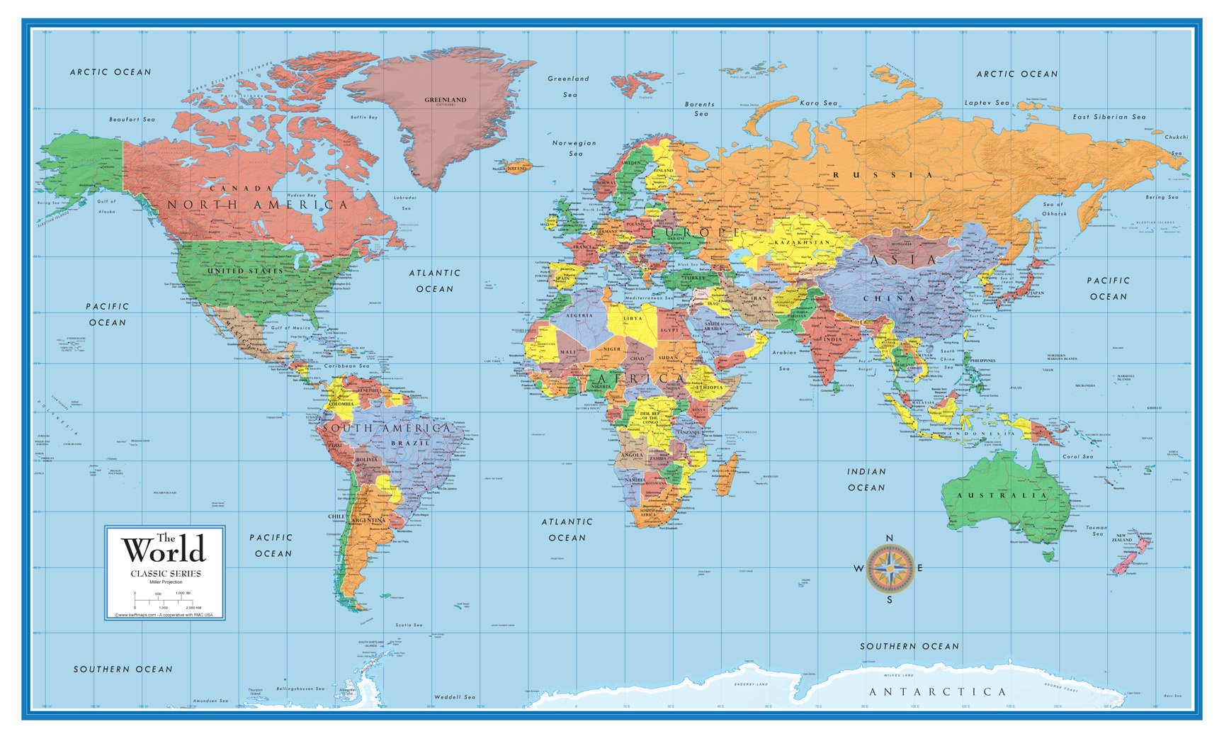 48x78 Huge World Classic Elite Wall Map Laminated by Swiftmaps