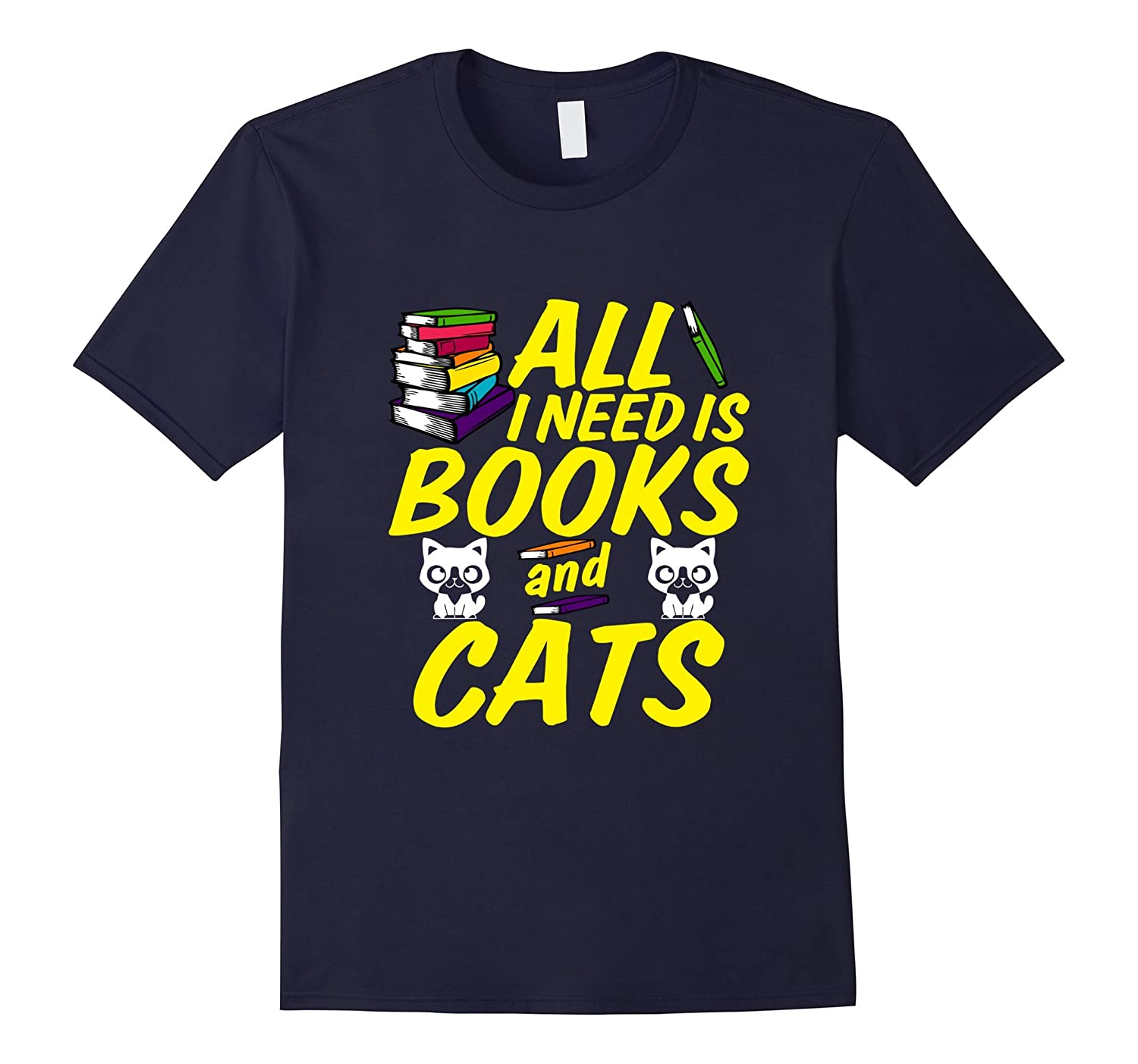 All i need is Books and Cats T-shirt Funny Librarian-TD