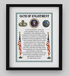 """Oath Of Enlistment""- U. S. Military-Wall Art- 8 x 10""- I Do Solemnly Swear To Defend. Typographic Print-Ready To Frame. Home-Office-Military Decor. Perfect Patriotic Gift for Military Veterans."