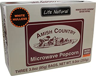 product image for Amish Country Popcorn | Old Fashioned Microwave Popcorn | Old Fashioned, Non GMO, Gluten Free, Microwaveable and Kosher with Recipe Guide (Lite Natural White Hulless, 3 Bags)