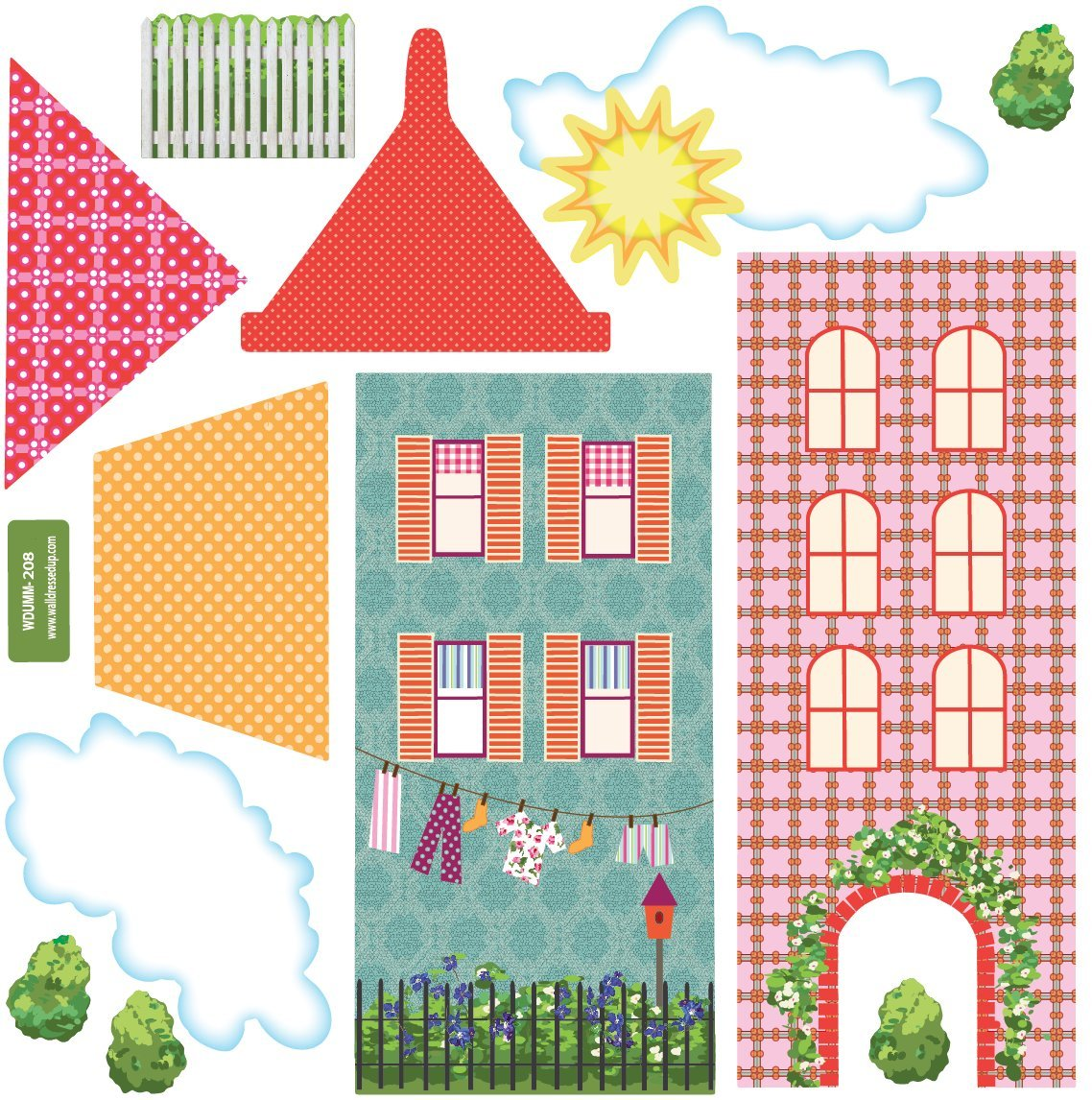 Amazon: Dollhouse Town Wall Decals Removable, Reusable Peel And Stick!:  Home & Kitchen