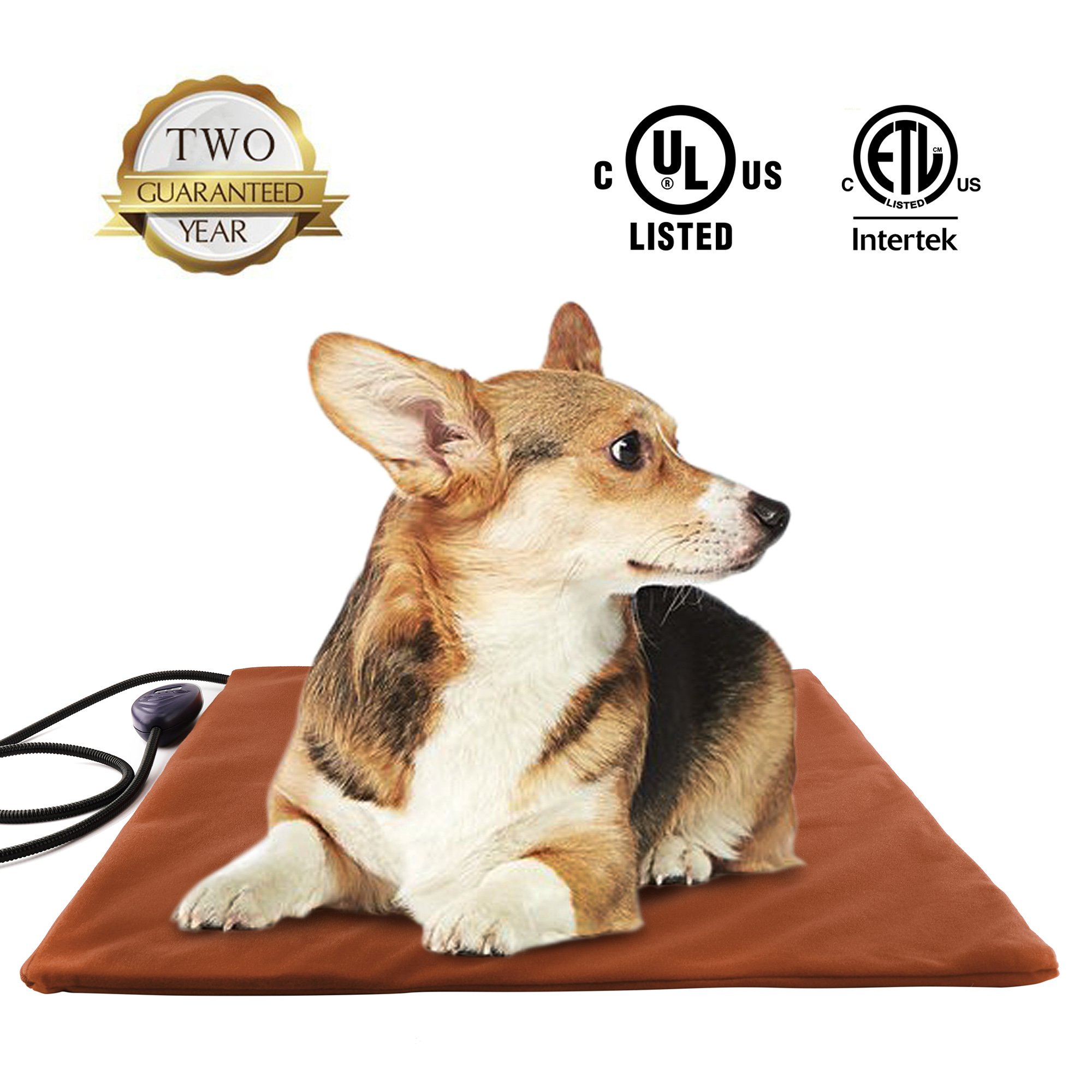 Pet Heating Pad Large,Electric Heated Dog Beds Pad,Dogs Cats Waterproof Adjustable Warming Mat with Chew Resistant Steel Cord,Soft Removable Cover,Overheating Protection(Square 50cm, Brown) ...
