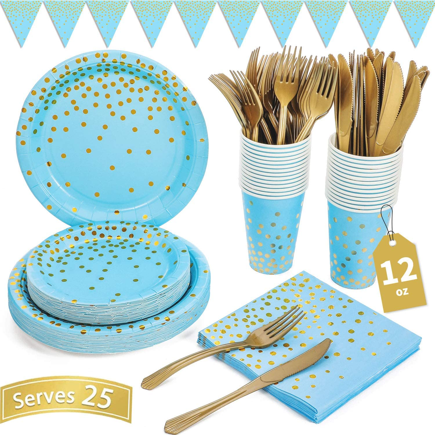 Blue and Gold Party Supplies 150PCS Golden Dot Disposable Party Dinnerware Includes Paper Plates, Napkins, Knives, Forks, 12oz Cups, Banner, for Baby Shower, Boy Birthday, Serves 25