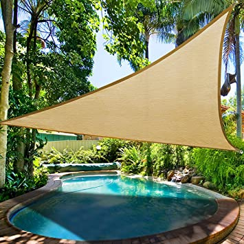 16.5u0027 Triangle Sun Shade Sail Patio Deck Beach Garden Yard Outdoor Canopy  Cover Uv Blocking