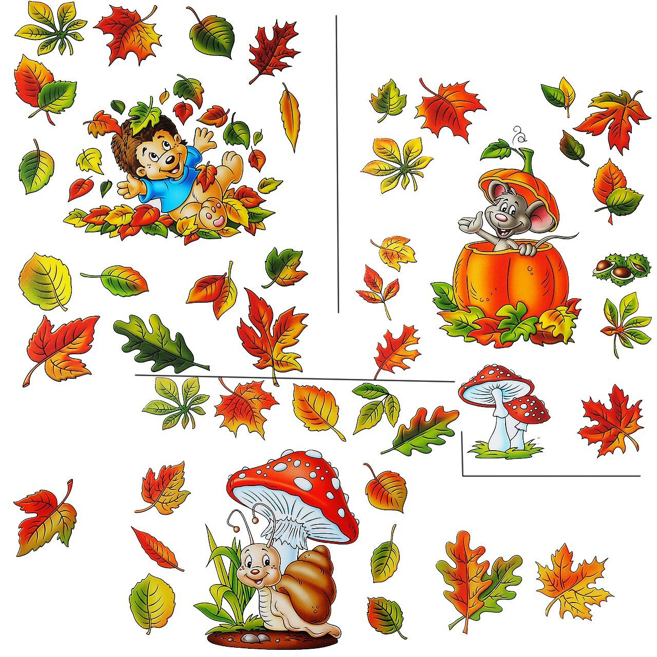 Unbekannt 1 Bogen: Fensterbilder lustige Tiere im Herbst - Blätter / Igel / Maus / S.. Kinder-land