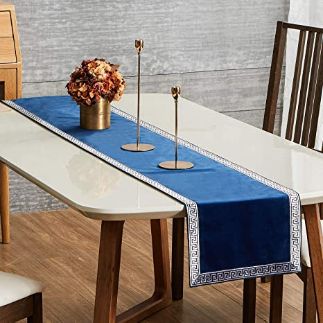 Amazon Com Topfinel Dining Table Runner 48 Inches With Geometric Pattern Luxury Soft Velvet Coffee Table Runners For Party Holiday Wedding Gathering Navy Home Kitchen