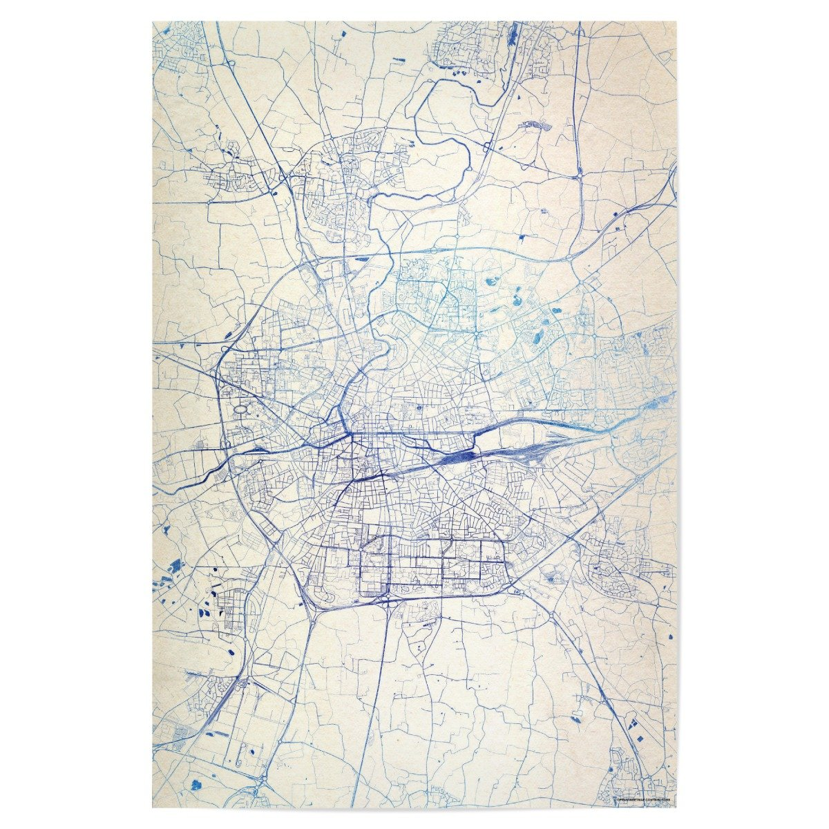 Map Of France Rennes.Artboxone Poster Cities Rennes France Blue Infusion Map Ii 45x30 Cm