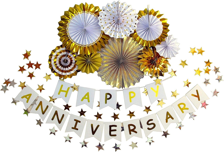 ZoZac Happy Anniversary Banner Anniversary Decorations for Wedding Birthday Party