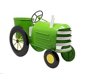Alpine Corporation Metal Lime Green Tractor Planter