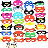 28 Pack Superhero Party Masks Favors Felt Mask- Party Supplies, Dress up, Birthday Party, Children's Masks, Pretend Play, Unisex masks for Children Aged 3+