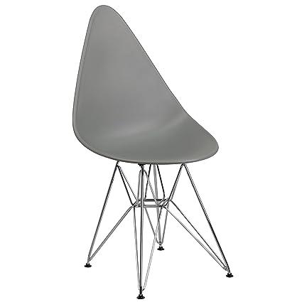Astounding Flash Furniture Allegra Series Teardrop Gray Plastic Chair With Chrome Base Creativecarmelina Interior Chair Design Creativecarmelinacom