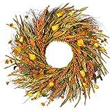 22 inch Fall Wreath Front Door Wreath Grain Wreath Harvest Gold Wheat Ears Circle Garland autumn wreath for Front Door…