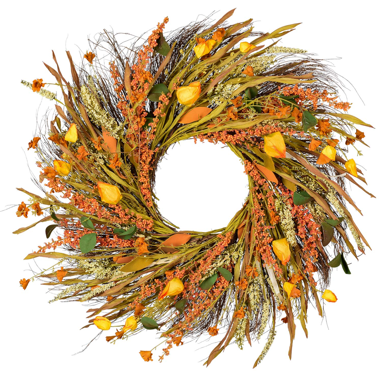 22 inch Fall Wreath Front Door Wreath Grain Wreath Harvest Gold Wheat Ears Circle Garland autumn wreath for Front Door Wedding Wall Home Thanksgiving Decor by Woooow