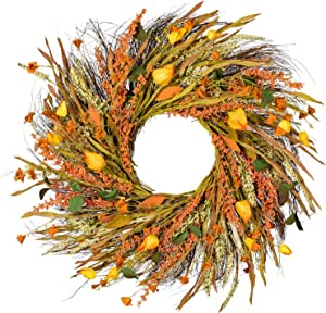 22 Inch Fall Wreath Front Door Wreath Grain Wreath Harvest Gold Wheat Ears Circle Garland Autumn Wreath For Front Door Wedding Wall Home Thanksgiving Decor Kitchen Dining Amazon Com