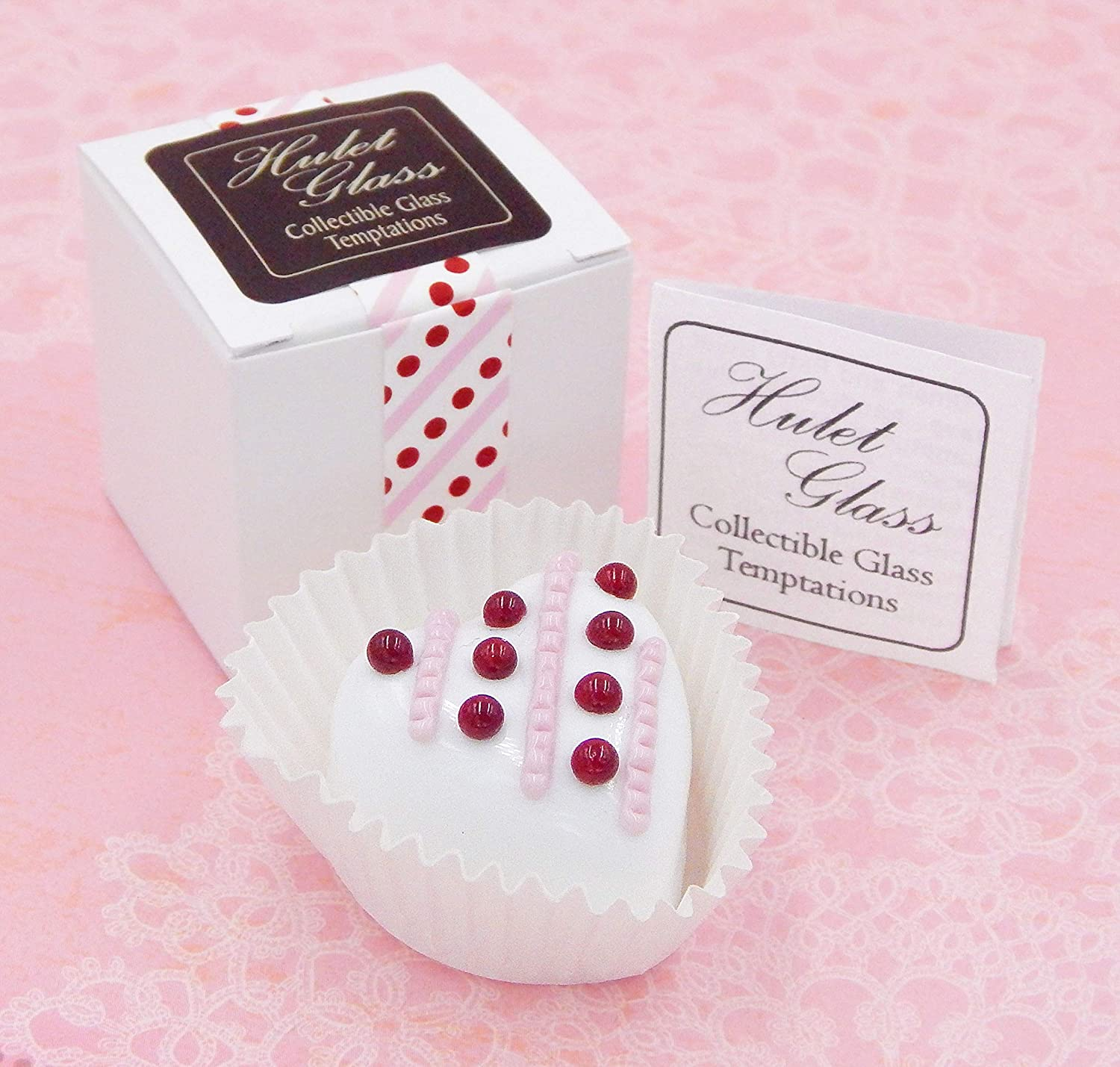 White Chocolate Heart with Lines /& Dots Art Glass Candy