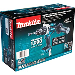 Makita XPH07Z 18V LXT Lithium-Ion Brushless Cordless 1/2 Hammer Driver-Drill, Tool Only (Tamaño: 1/2-Inch)