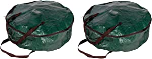 Juvale Wreath Storage Container - 2-Pack Christmas Ornament Heavy Duty Plastic Bag for 30-Inch Wreath, Holiday Decoration Container, Tear Resistant, Green with Black Strap, 30 x 8 Inches