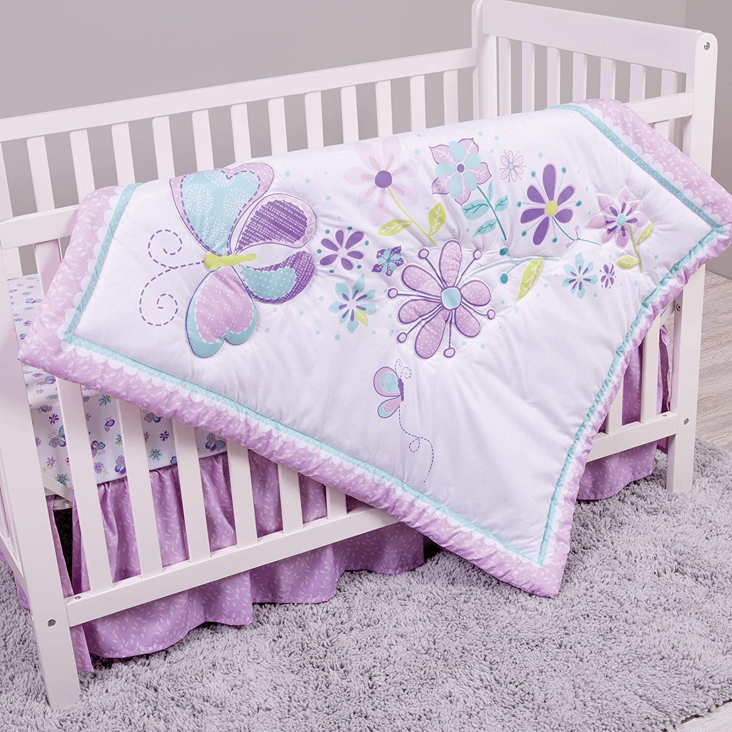 Sammy & Lou Butterfly Meadow 4 Piece Crib Bedding Set