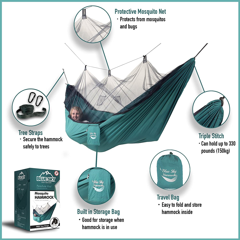 Amazon.com: Blue Sky Outdoor Mosquito Traveler Hammock with Free ...