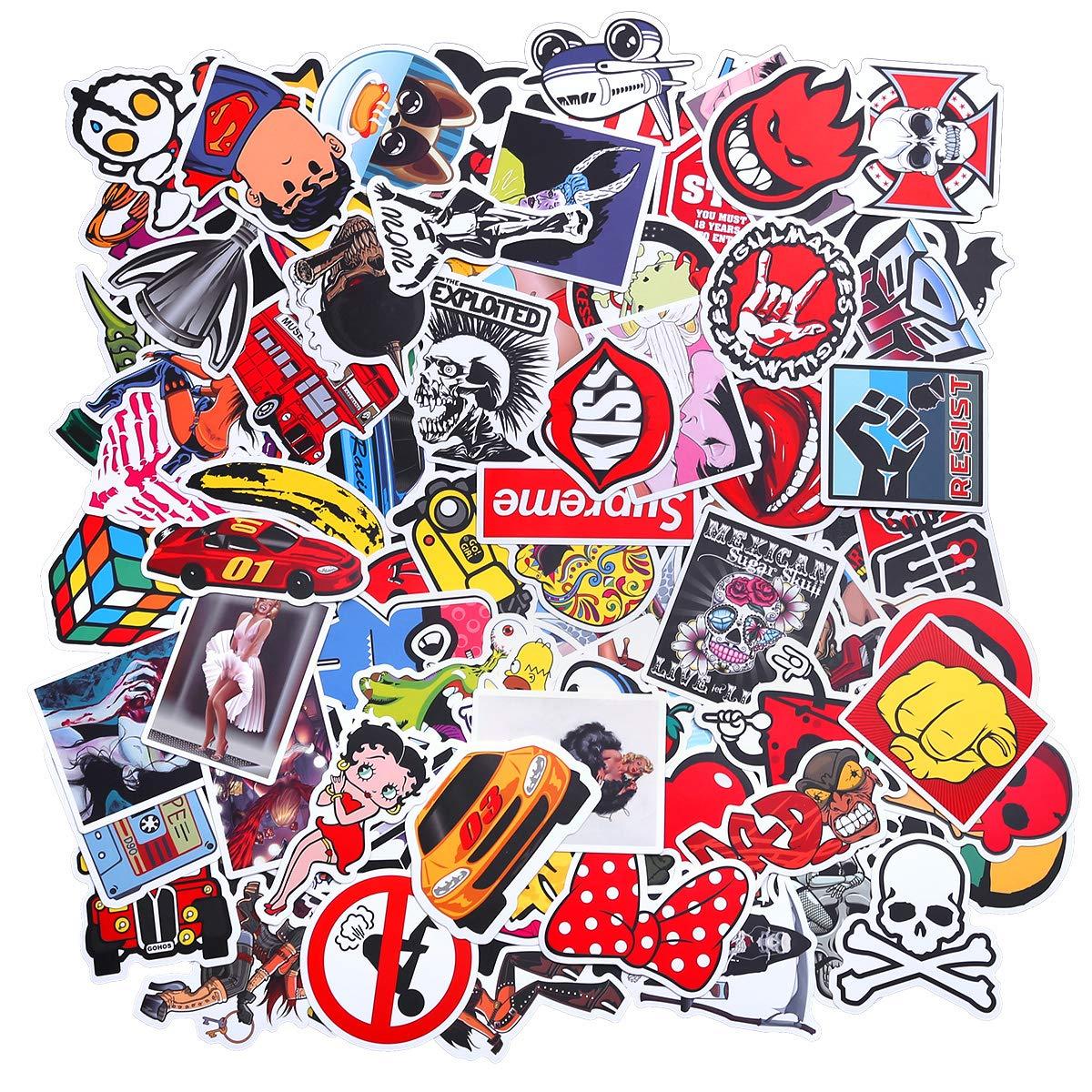 Valigia Skateboard Laptop Biciclette Auto EKKONG 100 Pezzi Kit Adesivi Adulti Vsco Stickers Tumblr Vinyl Kawaii Decals per Bambini Adolescenti Vine Moto