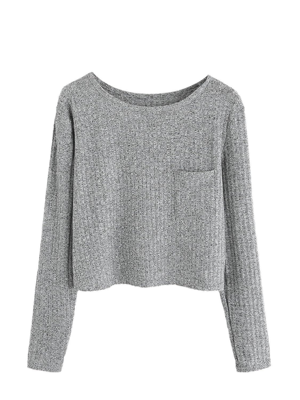 6e02b0371889 SweatyRocks Women s Long Sleeve Crewneck Knitted Crop Top Casual Blouse T- Shirt at Amazon Women s Clothing store