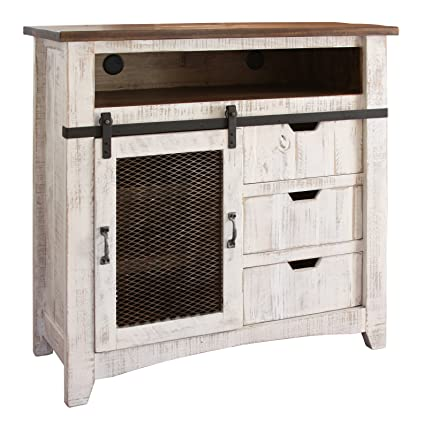 Anton Distressed White Sliding Barn Door Media Chest   Dresser With Media  Storage Space