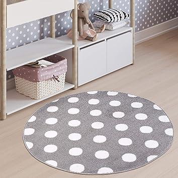Tapiso Luxury Rond Tapis Chambre Bébé Enfant Ado Design Moderne Gris ...
