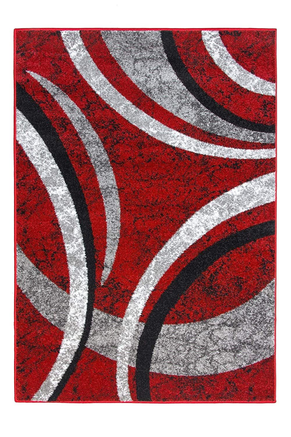 Diamond Soft Modern Arcs Arc Lines Red Black Grey Soft Thick Rug Available In Different Sizes (80cm x 150cm 2ft 7