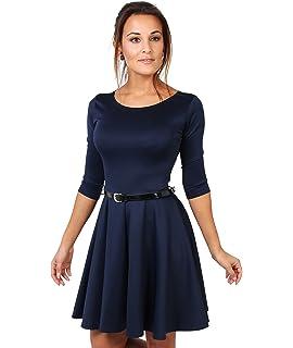 75140fb74b KRISP® Women Tailored Skater Dress 3 4 Sleeve Pleated Belted Swing Spring  Dress Black