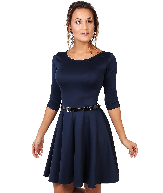 TALLA 48. KRISP Vestido Vuelo Versátil Moda Azul Marino (9072) 48