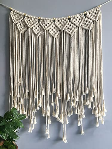 XIULIHUI 100 Handmade Woven Macrame Wall Hanging Boho Art Craft Home D cor Beige Room Tapestry Party Wedding Backdrop Tapestries