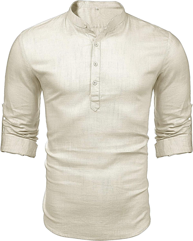LecGee Mens Cotton Linen Henley Shirt Casual Long Sleeve Hippie T Shirt Beach Yoga Tops
