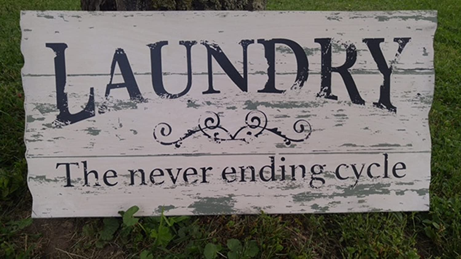Laundry Never Ending Cycle Wood Sign