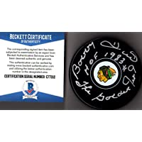 """$39 » Beckett BAS Bobby Hull #9 """"HOF 1983"""" & """"The Golden Jet"""" Autographed Signed Chicago…"""