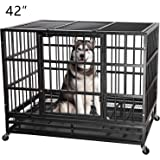 ITORI Heavy Duty Metal Dog Cage Kennel Crate and Playpen for Training Large Dog Indoor Outdoor with Double Doors & Locks Design Included Lockable Wheels Removable Tray(42in 48in)