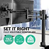 Dual Monitor Stand Holder Two Arm Monitor Mount for Two 10 to 30 inch LED LCD TV Computer Screens Fully Adjustable Swivel Tilt Rotate / VESA 75x75mm - 100x100mm / C-Clamp Included