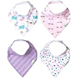 """Baby Bandana Drool Bibs for Drooling and Teething 4 Pack Gift Set """"Sassy"""" by Copper Pearl"""