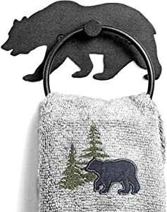 Piffny Heavy Duty Steel Bear Hand Towel Ring Holder Rack for Country Rustic Farmhouse Cabin Decor Bathrooms in Rust and Water Resistant Finish (Matte Black)