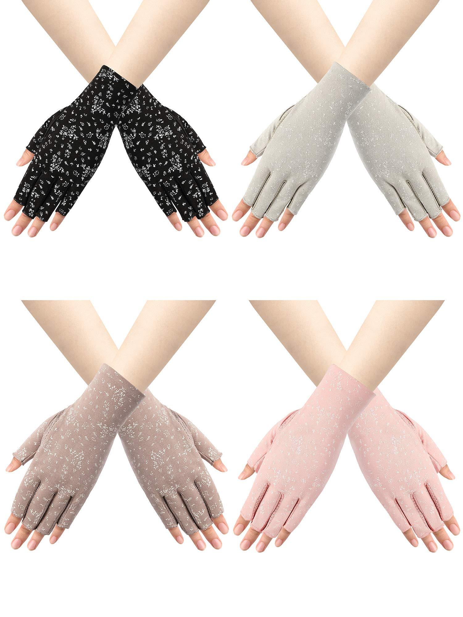 Trounistro 4 Pairs Women Sunblock Fingerless Gloves Non Slip UV Sunscreen Protection Gloves Driving Gloves for Women (Color set 2)