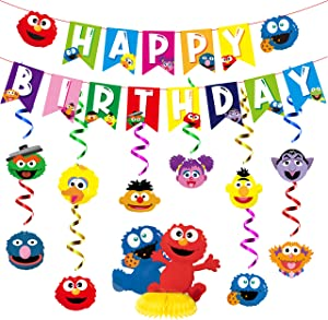PANTIDE Sesame Birthday Party Decorations Kit - Sesame Happy Birthday Banner Bunting, Hanging Swirls Streamers, Elmo Monster Honeycomb Centerpiece Table Topper, Elmo Party Supplies for Kids