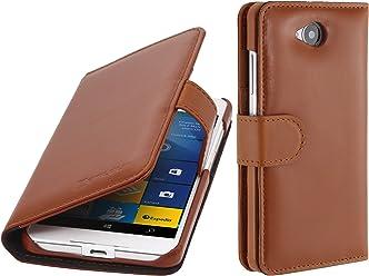 StilGut - Custodia Lumia 650 Talis con Tasca per Carte, Cognac