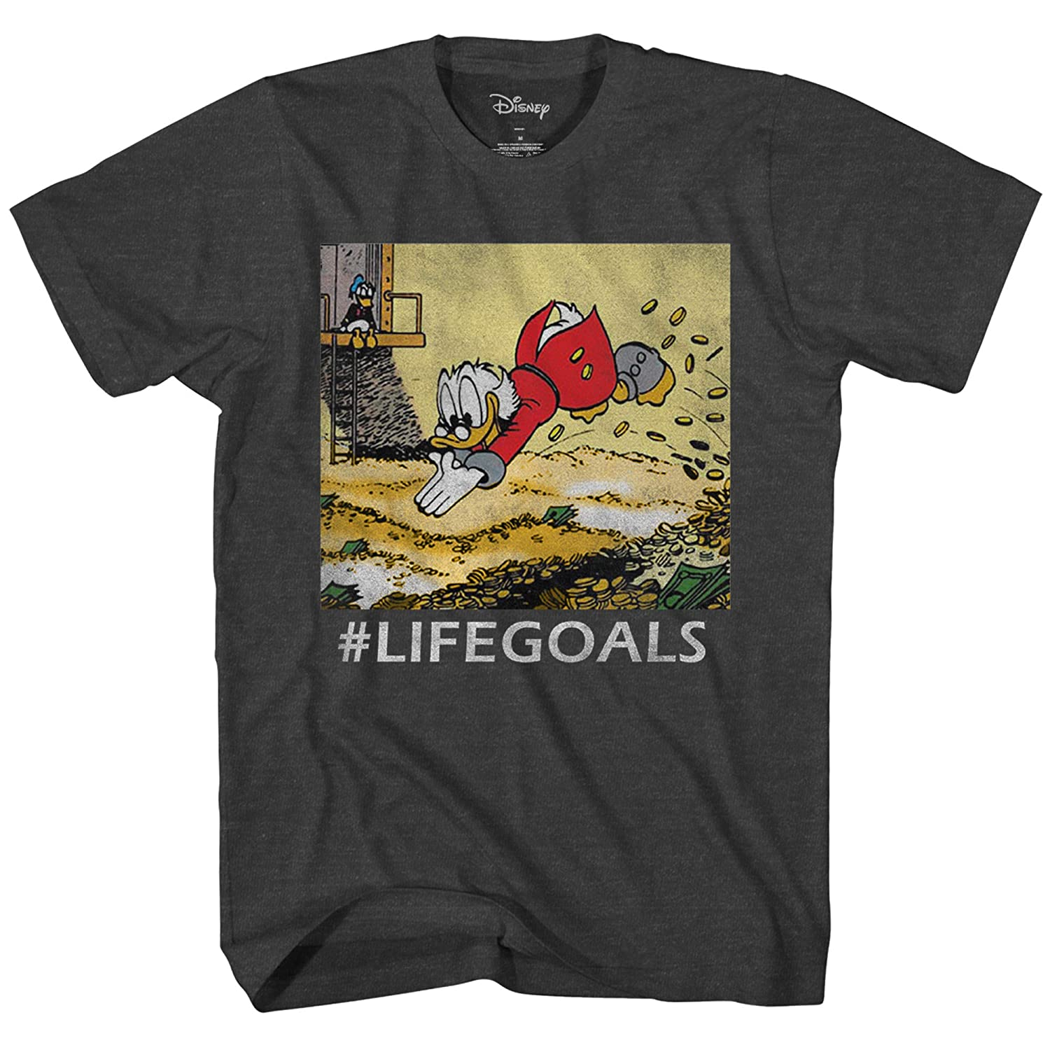 5e42756d Amazon.com: Disney Ducktales Scrooge Goals McDuck Duck Tales Vintage  Classic Funny Logo Adult Mens Graphic Tee T-Shirt: Clothing