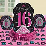 """Elegant Sweet Sixteen Celebration Table Decorating Kit Birthday Party Decorations (23 Pack), Multi Color, 12 3/4""""."""