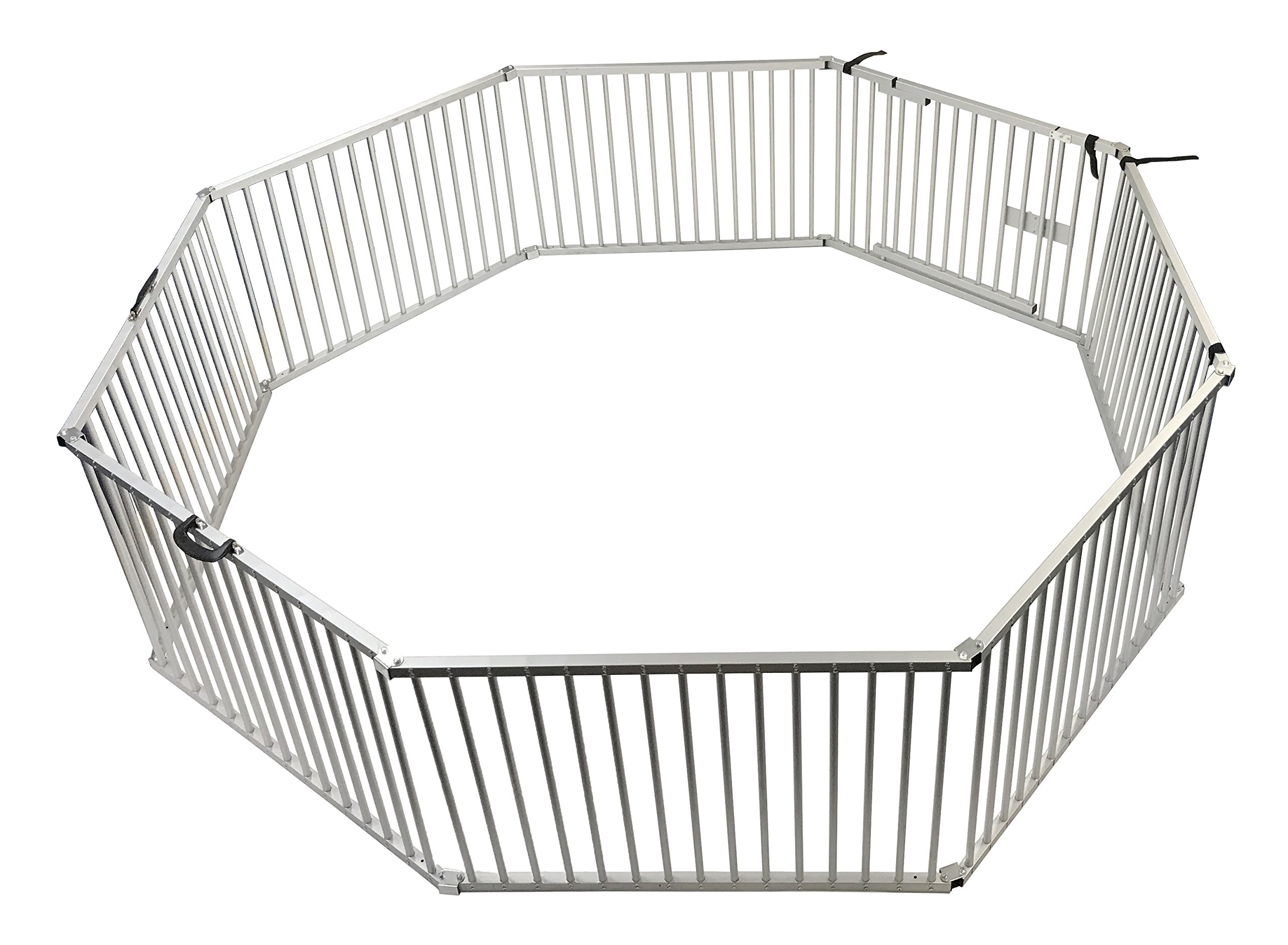 Penn Plax Portable Dog Fence, Exercise Pen Great for Travel, Picnics, and Beach, 8 Piece Aluminum Set