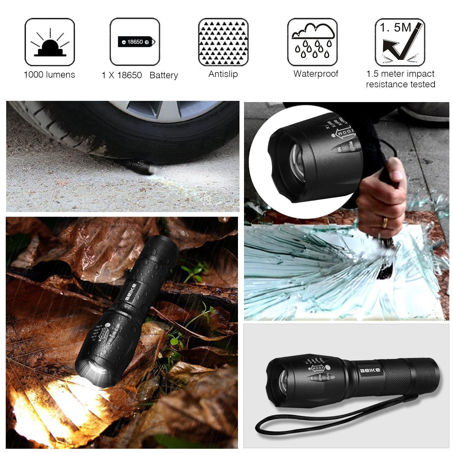 Beike 2 Pack 1000 lumens Tactical Flashlights, Super Bright Handheld Outdoor CREE LED Torch Flashlight with Adjustable Focus 5 Light Modes for Camping Hiking Emergency(AAA Batteries Included) by Beike (Image #4)