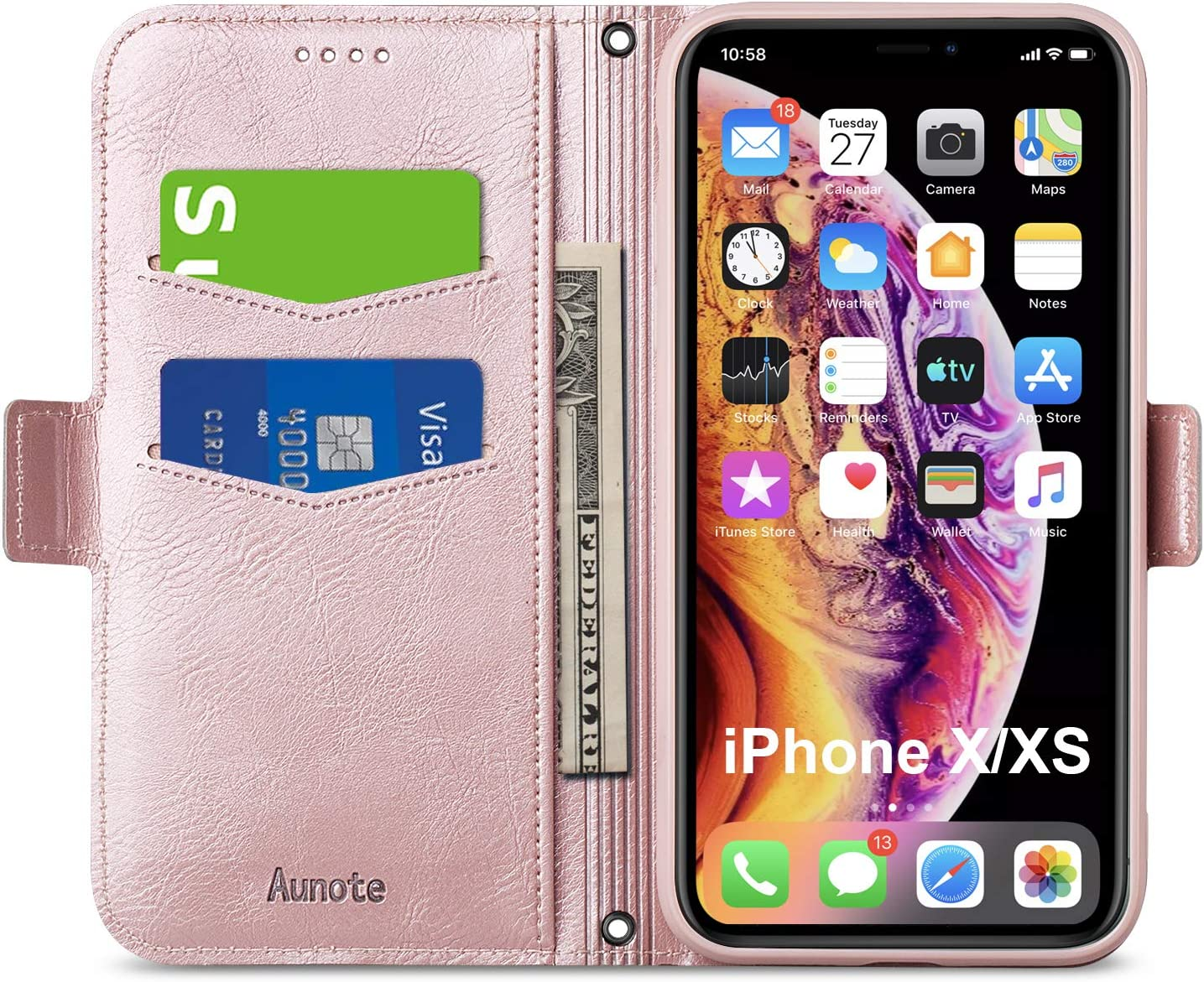 Aunote iPhone Xs Case Wallet, iPhone X Flip Case with Card Slot, Magnetic Closure and Kickstand, Soft TPU+Slim PU Leather Folio Phone Cover Full Protection for Apple iPhone X/XS/10. Rose Gold