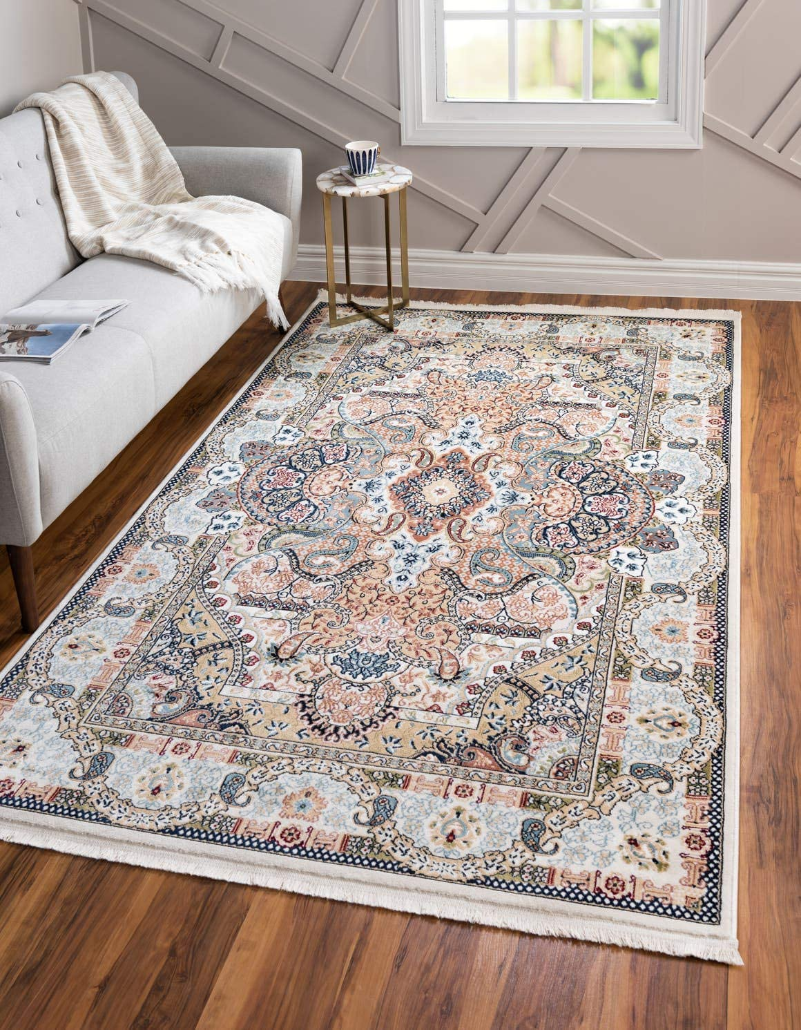 Unique Loom Narenj Collection Classic Traditional Medallion Textured Ivory Area Rug 8 0 x 10 0