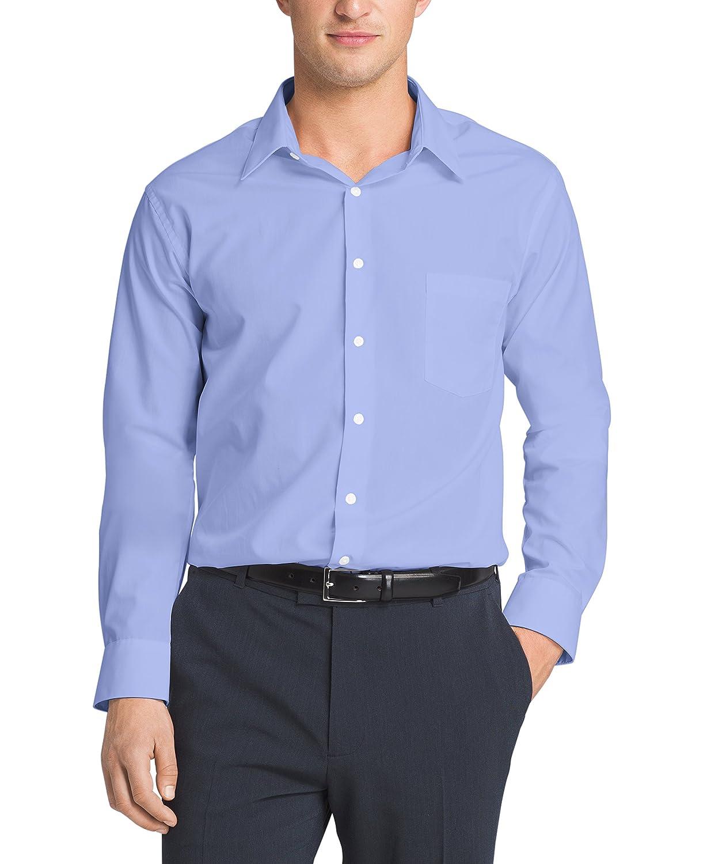 Van heusen men 39 s poplin regular fit solid point collar for Van heusen men s regular fit pincord dress shirt